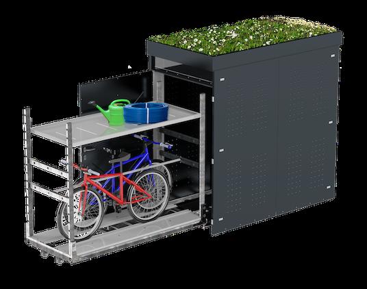 Gartenhütte mit Fahhrädern und Blumen - die Gardox Storebox!